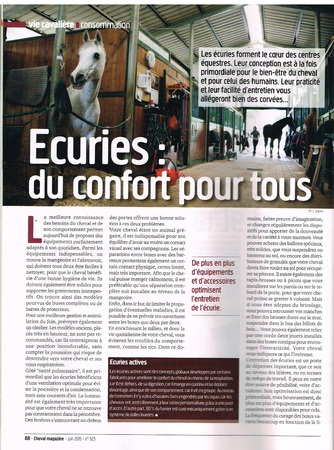 PAGE 1 DE L ARTICLE CHEVAL MAGAZINE JUIN 2015