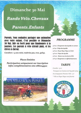 affiche rando parents enfants, velo cheval 30 mai 2021